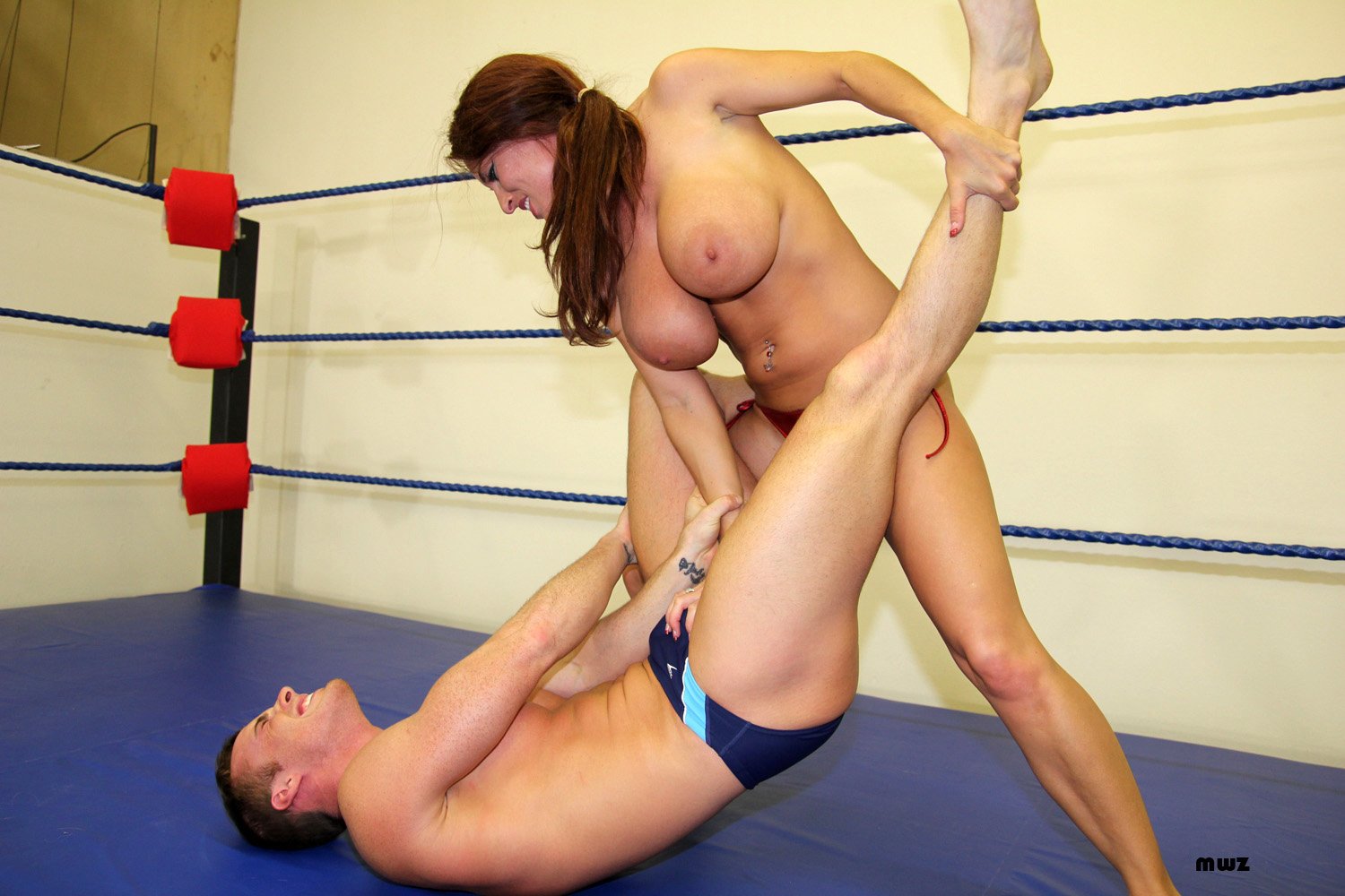 Wrestling topless mixed